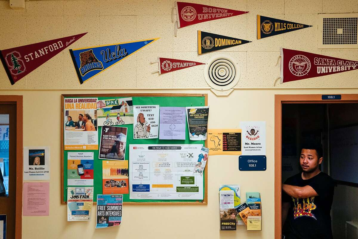 College pennants are seen along the office at the Raoul Wallenberg Traditional High School in San Francisco, Calif., on Friday, March 15, 2019.