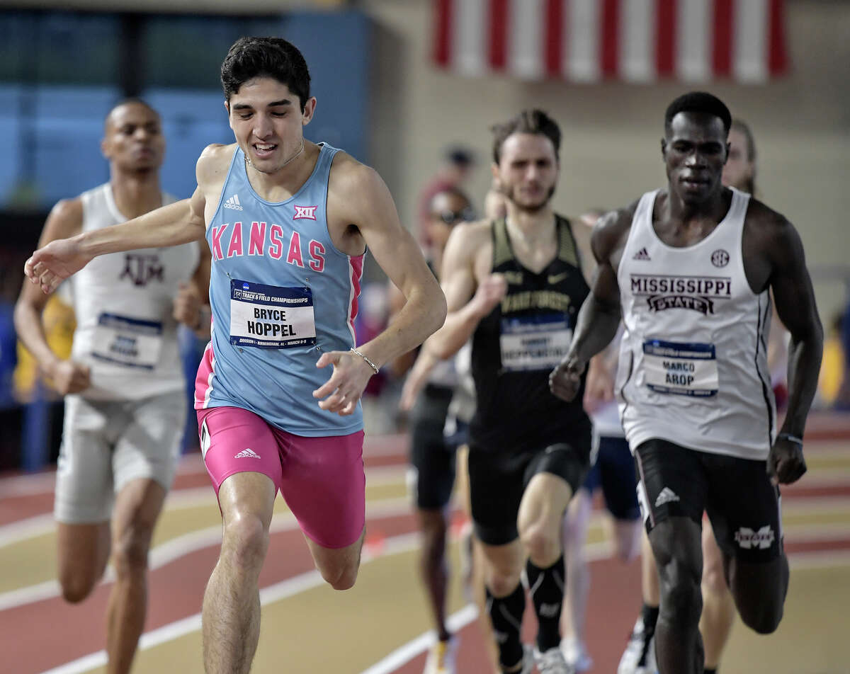 Midland High alum and University of Kansas junior Bryce Hoppel competes in the men's 800 meter final at the NCAA Indoor Track & Field Championships, March 9 in Birmingham, Ala. Courtesy Kansas athletics