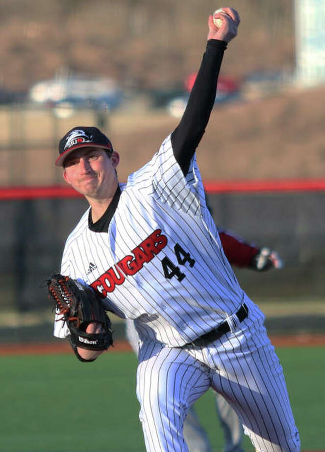 SIUE relief pitcher Michael Shereyk delivers a pitch during the ninth inning against Southeast Missouri on Friday at the Simmons Baseball Complex in Edwardsville. Photo: Greg Shashack / The Telegraph