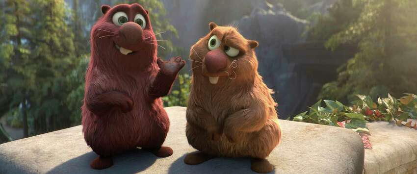 This image released by Paramount Animation shows Cooper, voiced by Ken Jeong, left, and Gus, voiced by Kenan Thompson in a scene from the animated film