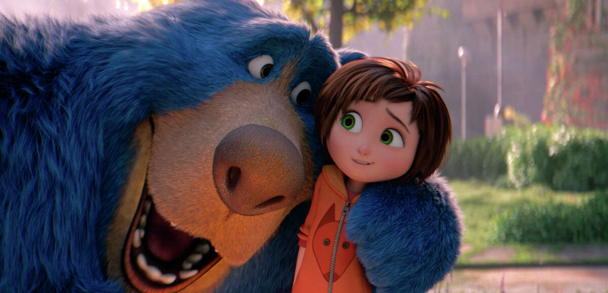 """This image released by Paramount Animation shows June, voiced by Sofia Mali, right, and Boomer, voiced by Ken Hudson Campbell, in a scene from the animated film """"Wonder Park."""" (Paramount Animation via AP)"""