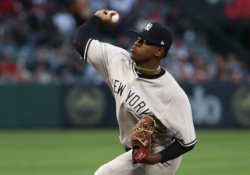 ANAHEIM, CA - APRIL 27: Pitcher Luis Severino #40 of the New York Yankees pitches in the first inning during the MLB game against the Los Angeles Angels of Anaheim at Angel Stadium on April 27, 2018 in Anaheim, California. (Photo by Victor Decolongon/Getty Images)