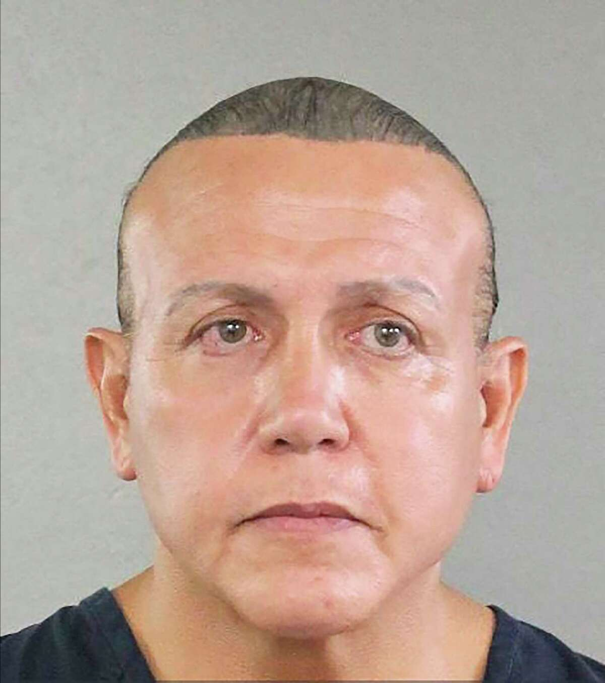A photo provided by the Broward County Sheriff's Office of Cesar Sayoc Jr., the man suspected of mailing a dozen parcel bombs to critics of President Donald Trump in 2018. Sayoc, a Trump supporter who prosecutors say mailed pipe bombs to prominent Democrats, has decided to enter a guilty plea, according to a court docket. (Broward County Sheriff's Office via The New York Times) -- FOR EDITORIAL USE ONLY --