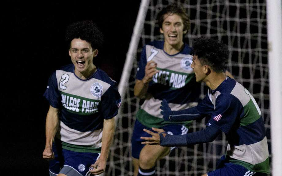 In this file photo, College Park forward Mike Dadaria (2) reacts after scoring a goal to tie the game 1-1 during the first period of a District 15-6A high school soccer match at College Park High School, Friday, Jan. 25, 2019, in The Woodlands. Photo: Jason Fochtman, Houston Chronicle / Staff Photographer / © 2019 Houston Chronicle