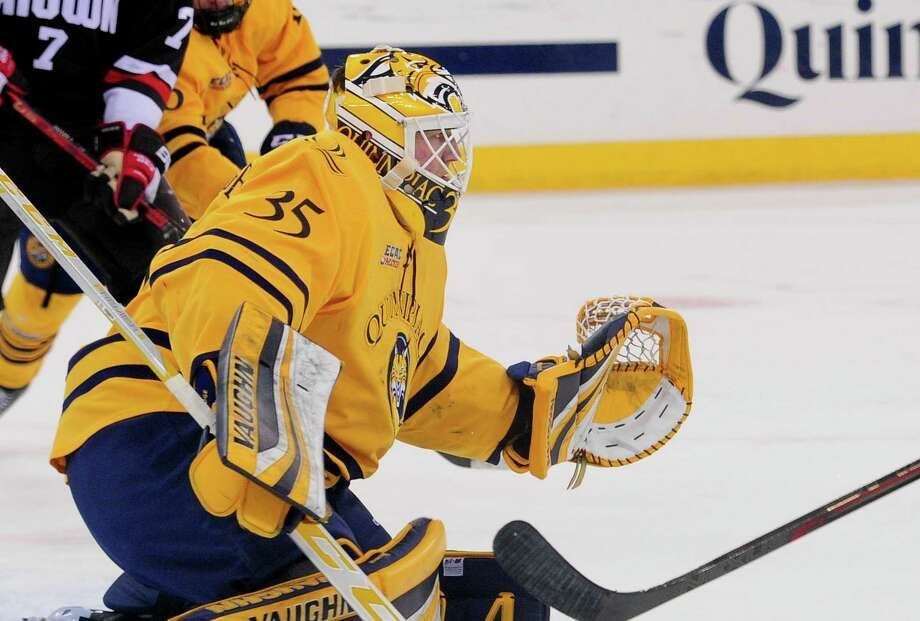 Quinnipiac goalie Andrew Shortridge is one of several Bobcats considering their professional options according to Quinnipiac coach Rand Pecknold. Photo: Christian Abraham / Hearst Connecticut Media / Connecticut Post