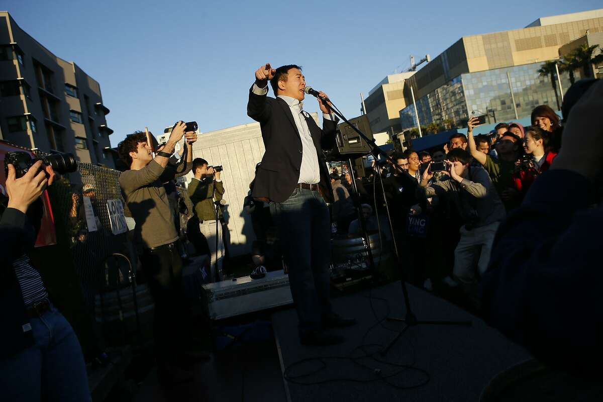 Presidential candidate Andrew Yang during his campaign rally at SPARK Social SF on Friday, March 15, 2019, in San Francisco, Calif.