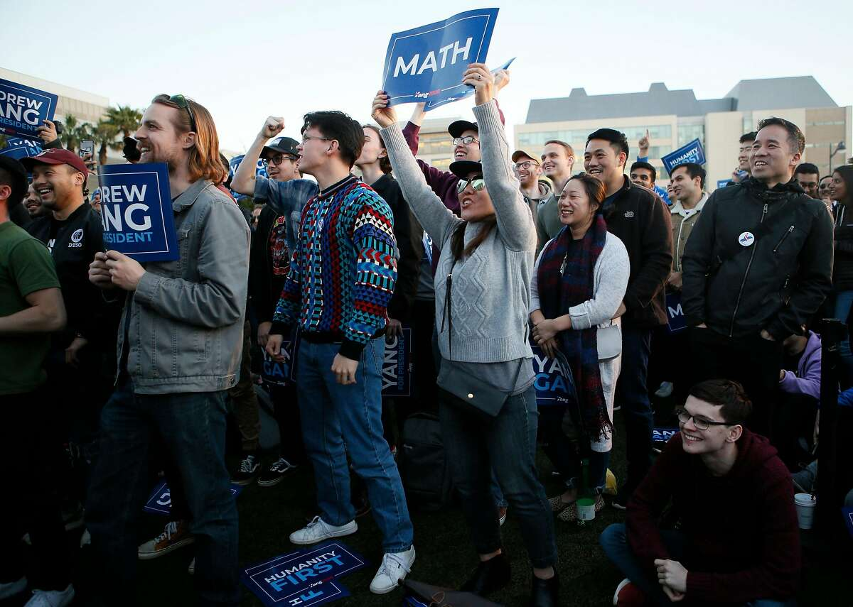 Supporters at the campaign rally of presidential candidate Andrew Yang at SPARK Social SF on Friday, March 15, 2019, in San Francisco, Calif.