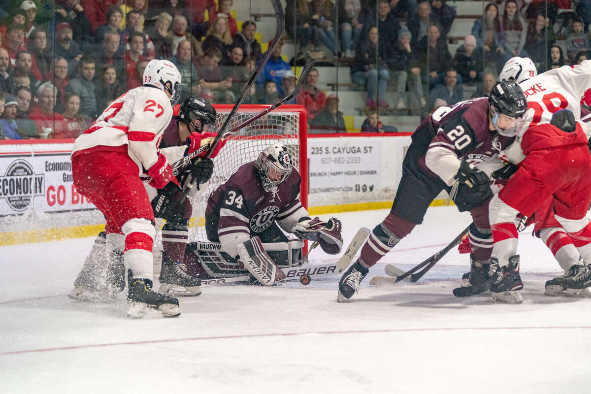 Union goalie Darion Hanson makes a save against Cornell in Game 1 of their quarterfinal series at Lynah Rink on Friday, March 15, 2019. (Dave Burbank / Cornell Athletics)