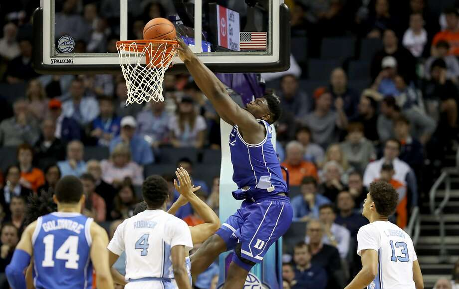 Zion Williamson of Duke throws one down in a closely fought Atlantic Coast Conference semifinal win over North Carolina. Photo: Streeter Lecka / Getty Images