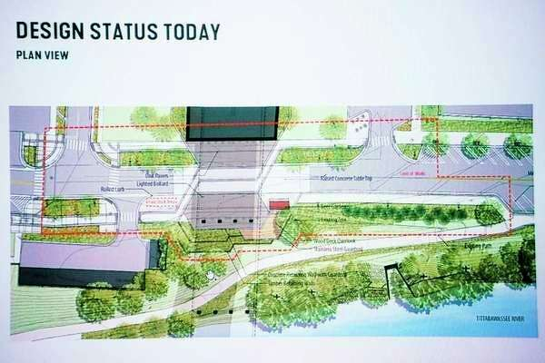 The design concept for the East End Plaza is shown during a presentation about the project by SmithGroup and the Michigan Baseball Foundation on Tuesday, Feb. 26, 2019 at City Hall. (Katy Kildee/kkildee@mdn.net)