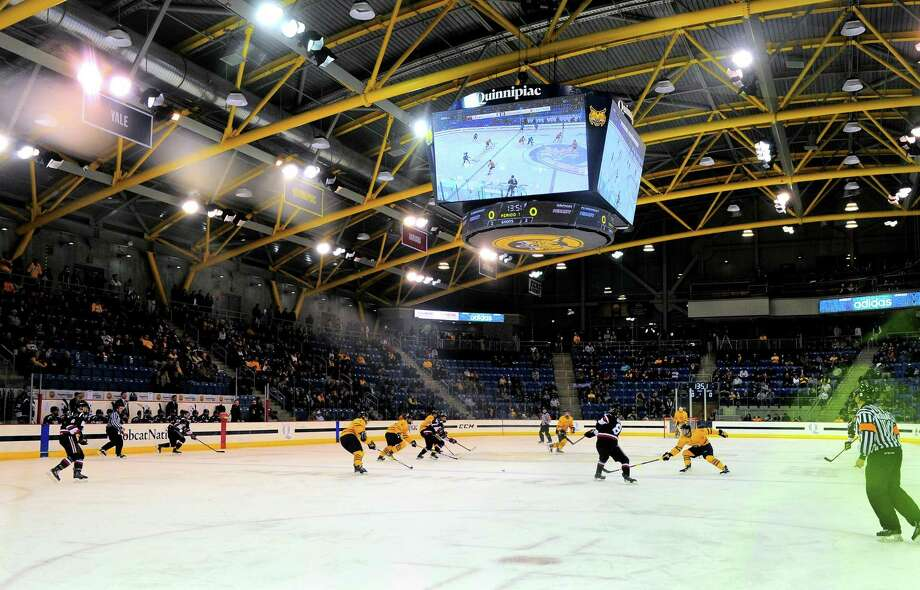 The Quinnipiac men's hockey team was eliminated from the ECAC Hockey playoffs by Brown. Photo: Christian Abraham / Hearst Connecticut Media / Connecticut Post