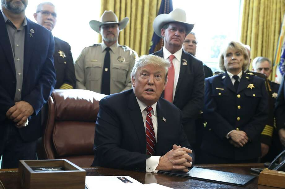 In this March 15, 2019, photo, President Donald Trump speaks about border security in the Oval Office of the White House, Friday, March 15, 2019, in Washington. Trump's veto of a bipartisan congressional resolution rejecting his border emergency declaration is more than a milestone. It signals a new era of tenser relations between the two ends of Pennsylvania Avenue. (AP Photo/Evan Vucci) Photo: Evan Vucci, Associated Press