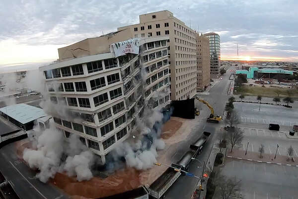 The Building of the Southwest was imploded March 16, 2019. Still frame pulled from video camera mounted on the 8th floor of the CNB Bank Building. James Durbin / Reporter-Telegram