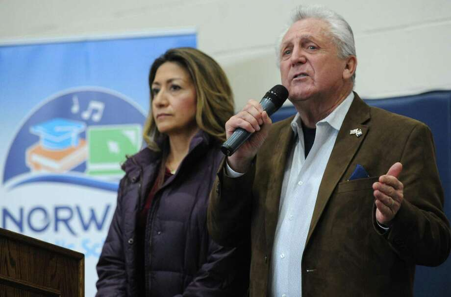 Norwalk mayor Harry Rilling and his wife Lucia Rilling welcomes guests to the third annual Norwalk Public Schools STEM Expo Saturday, March 16, 2019. The final piece of the mayor's reorganization was approved on Tuesday, May 15, 2019. Photo: Erik Trautmann / Hearst Connecticut Media / Norwalk Hour
