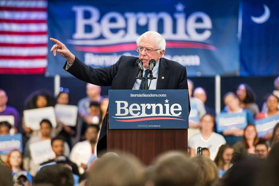 Democratic presidential candidate Bernie Sanders addresses a rally Thursday in North Charleston, S.C. Sanders appeals to the left wing of the party. Photo: Sean Rayford / Getty Images