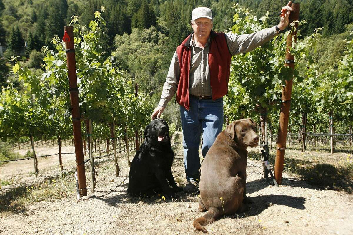 Tom Seaver, a former Hall of Fame pitcher for the New York Mets, poses in his 3-acre vineyard with his dogs Major and Bandy in Calistoga, California, U.S., on Thursday, May 22, 2008.