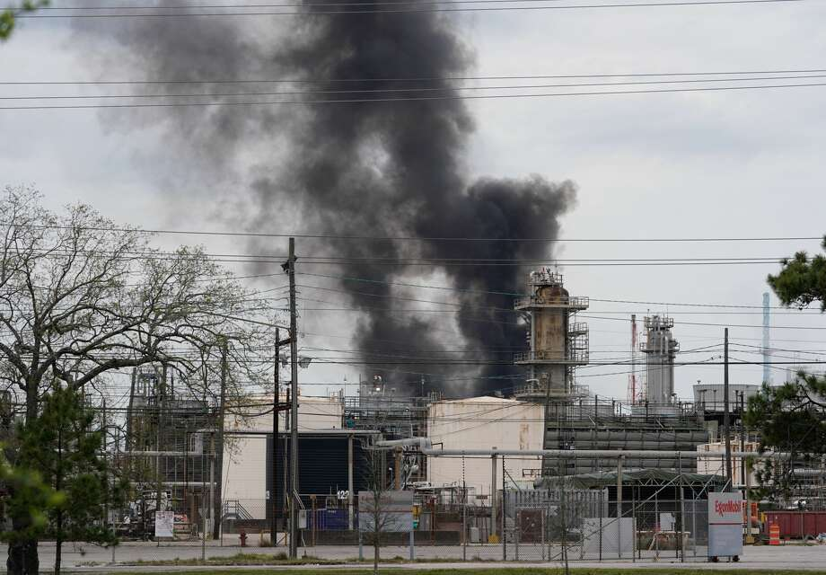 Smoke is shown at Exxon's Baytown facility, 5000 Bayway Drive, where a fire was reported Saturday, March 16, 2019. Photo: Melissa Phillip/Houston Chronicle