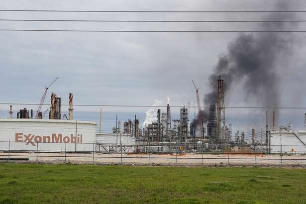 Smoke is shown at Exxon's Baytown facility, 5000 Bayway Drive, where a fire was reported Saturday, March 16, 2019.