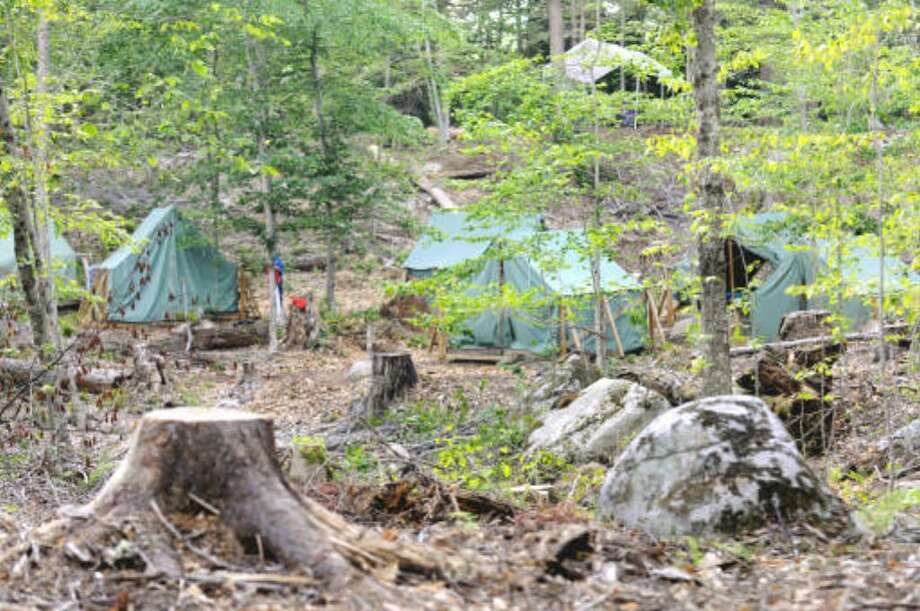 A view of the Apache campsite on July 15, 2008, at Cedarlands Scout Reservation near Long Lake. (Cindy Schultz / Times Union)