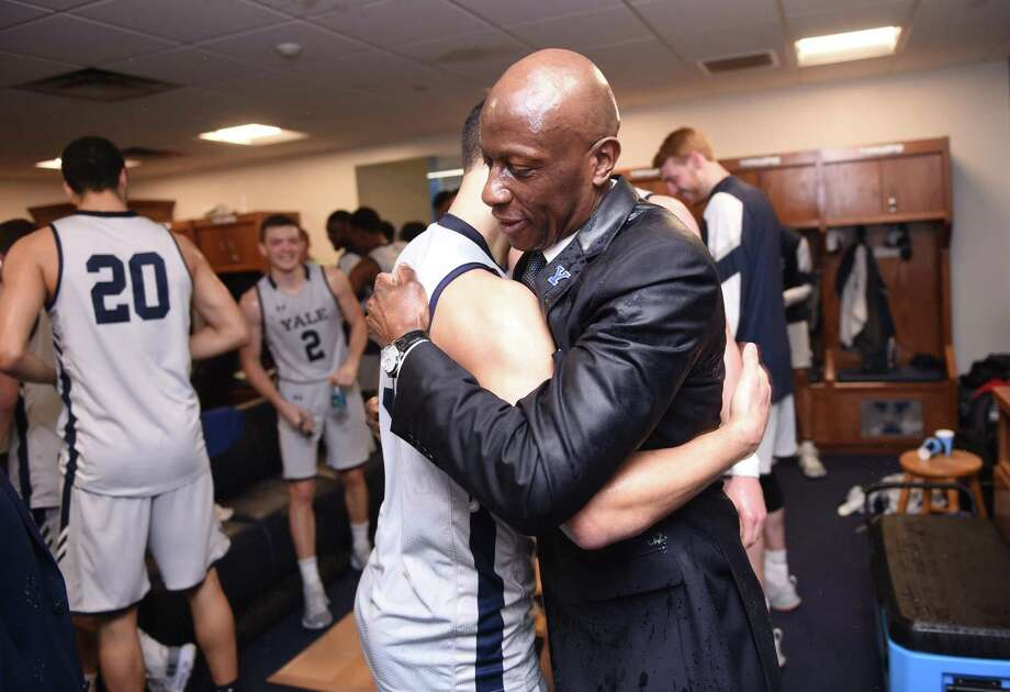 Yale coach James Jones celebrates his 300th career win, against Brown on Jan. 25. Photo: Arnold Gold / Hearst Connecticut Media / New Haven Register