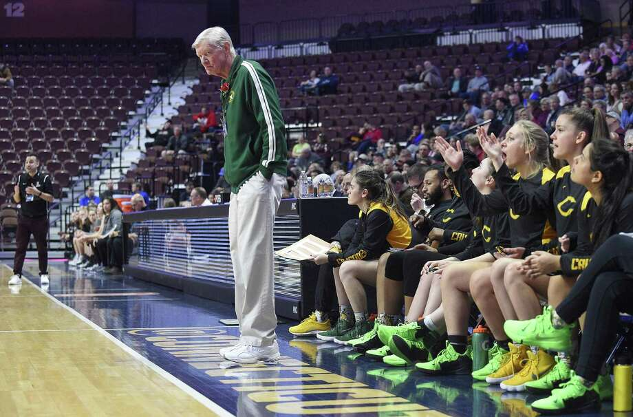 Trinity Catholic coach Mike Walsh reacts to a call on the court in the first half against Canton in the CIAC 2019 State Girls Basketball Tournament Class S Finals at the Mohegan Sun Arena in Uncasville on Saturday. Trinity Catholic defeated Canton 52-45. Photo: Matthew Brown / Hearst Connecticut Media / Stamford Advocate