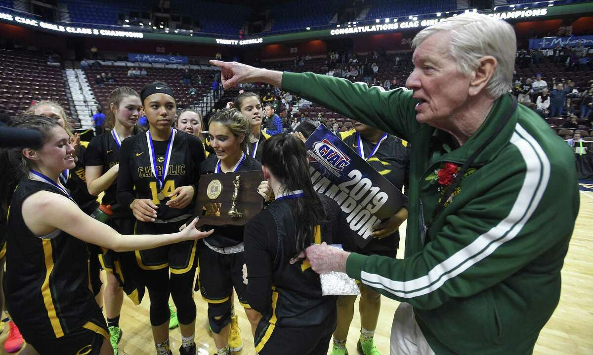 Trinity Catholic defeated Canton 52-45 in the 2019 State Girls Basketball Tournament Class S Finals at the Mohegan Sun Arena in Uncasville, Conn. on Saturday, March 16, 2019.