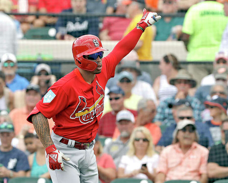 The Cardinals' Kolten Wong celebrates a home run off Detroit Tigers pitcher Michael Fulmer in a spring training gamae last week in St. Petersburg, Fla. Photo: AP Photo