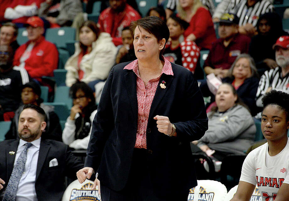 Lamar's head coach Robin Harmony reacts on the side as the Lady Cardinals begin to struggle late in the fourth quarter against Abilene Christian in the Southland tournament semi-final at the Merrell Center in Katy. Photo taken Saturday, March 16, 2019 Kim Brent/The Enterprise Photo: Kim Brent, The Enterprise / BEN
