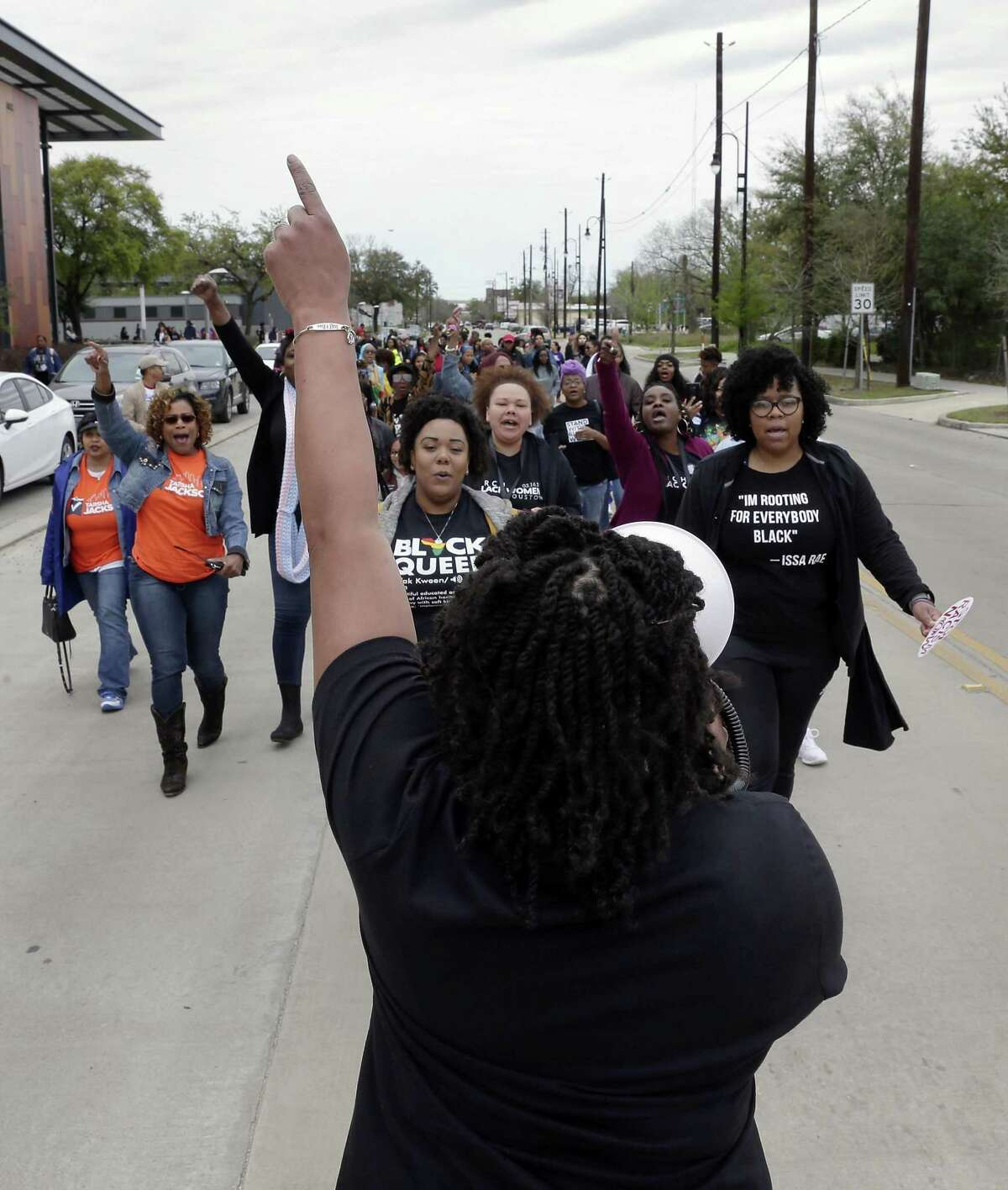 Founder Kandice Webber leads the march south along Emancipation Avenue after the speakers event during the March for Black Women Houston 2019, starting at Emancipation Park Saturday, Mar. 16, 2019 in Houston, TX.