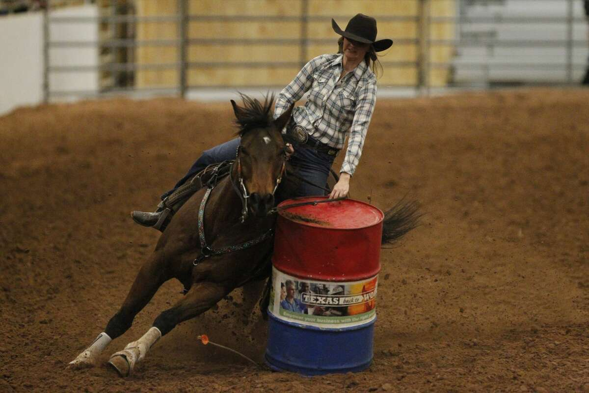Lindsay Ewing of Midland competes in the Barrel Racing event of the Permian Basin Spring Stampede Pro Rodeo March 15, 2019, at Horseshoe Arena. James Durbin / Reporter-Telegram