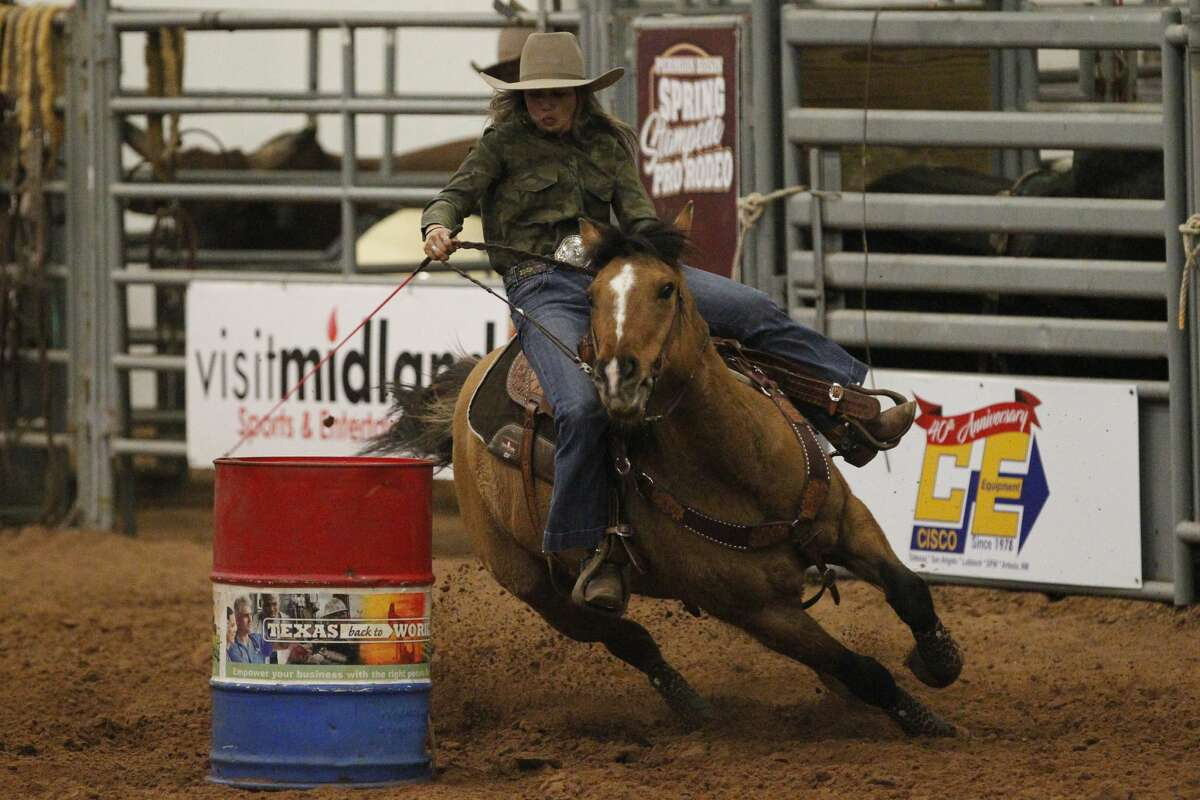 Bliss Bolton of Gardendale competes in the Barrel Racing event of the Permian Basin Spring Stampede Pro Rodeo March 15, 2019, at Horseshoe Arena. James Durbin / Reporter-Telegram