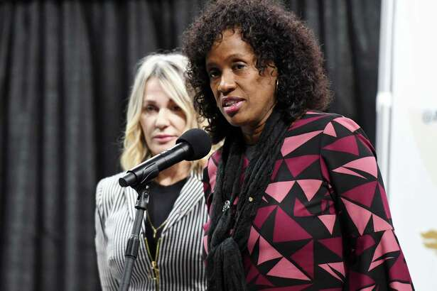 Former Olympian Jackie Joyner-Kersee during a press conference for the Aurora Games on Wednesday, Jan. 23, 2019 at the Times Union Center in Albany, N.Y. (Phoebe Sheehan/Times Union)