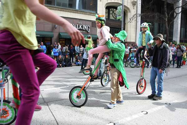 Scenes from Seattle's 48th annual St. Patrick's Day Parade in downtown Seattle Saturday, March 16, 2019. The parade began at Yesler Way and continued down 4th Avenue to Westlake Park.