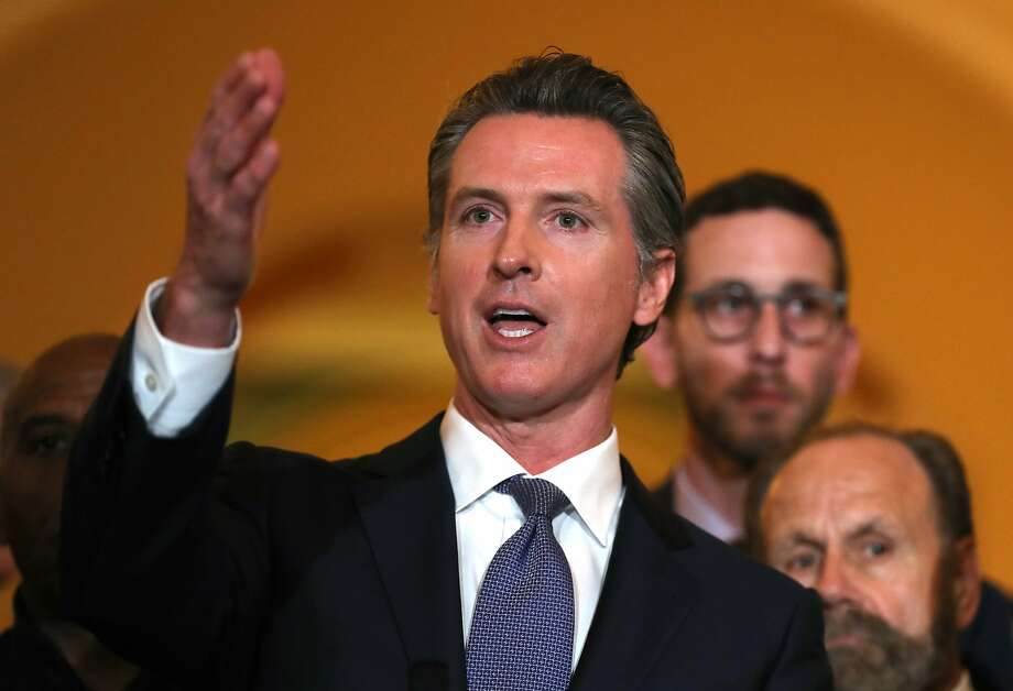 Gov. Gavin Newsom speaks during a news conference at the California State Capitol on March 13, 2019 in Sacramento, California. Click through the gallery for a look at contaminants in Bay Area water. Photo: Justin Sullivan, Getty Images