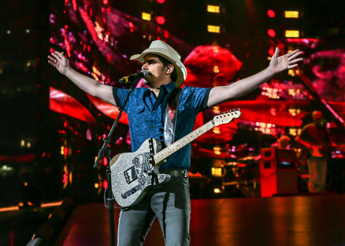 March 16, 2019: Brad Paisley performs in concert during the Houston Rodeo at NRG Stadium in Houston, Texas.