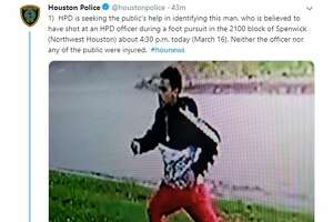 """""""HPD is seeking the public's help in identifying this man, who is believed to have shot at an HPD officer during a foot pursuit in the 2100 block of Spenwick (Northwest Houston) about 4:30 p.m. today (March 16). Neither the officer nor any of the public were injured.  #hounews"""" -@houstonpolice"""