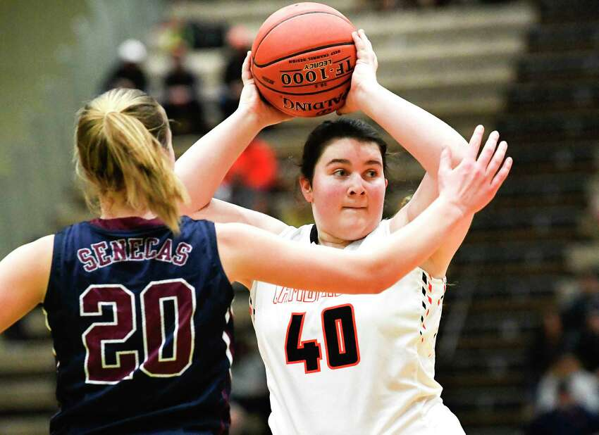 CambridgeOs McKayla McLenithan (40) looks to pass against Watkins GlenOs Adrienna Solomon (20) in the New York State Public High School Athletic Association girls' Class C championship basketball game Saturday, March 16, 2019, in Troy, N.Y. Cambridge won 57-43. (Hans Pennink / Special to the Times Union)