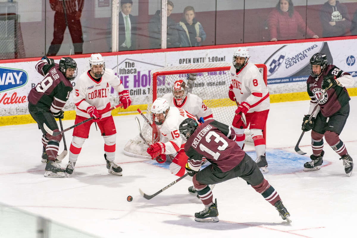 Zachary Emelifeonwu of Union shoots against Cornell in Game 2 of their ECAC quarterfinal series at Lynah Rink on Saturday, March 16, 2019. (Dave Burbank / Cornell Athletics)