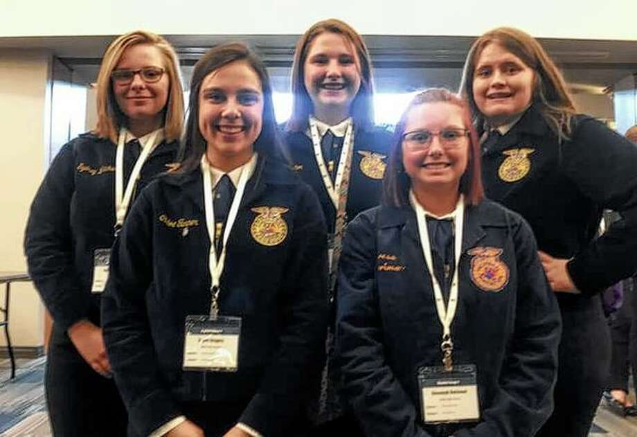 Female members of the Bluffs FFA chapter attended the Women Changing the Face of Agriculture Conference on March 1 at Richland Community College in Decatur. While there they participated in breakout sessions, career fairs and a college fair. Those attending were Kayde Gregory (front row, from left), Savannah Robinson, Sydney Whicker (back row, from left), Tori Preston and Madison Hopkins. Photo: Photo Provided