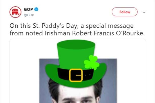 Official GOP Twitter trolls presidential candidate Beto O' Rourke on St. Patrick's Day.