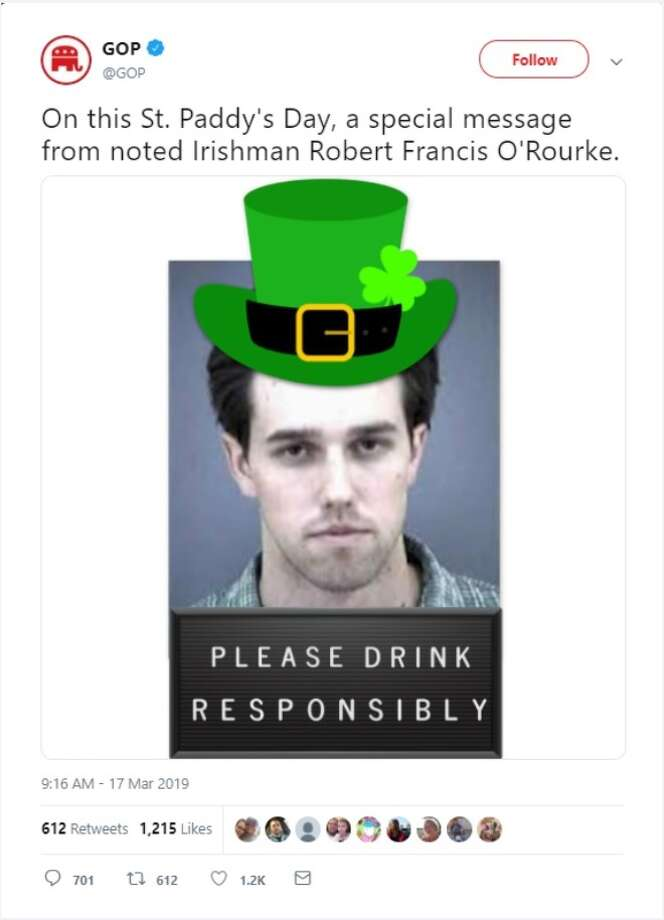 Official GOP Twitter trolls presidential candidate Beto O' Rourke on St. Patrick's Day. Photo: Twitter Screen Grab