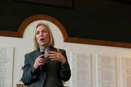 FILE -- Sen. Kirsten Gillibrand (D-N.Y.) speaks to a crowd during a campaign stop at Dartmouth College, her alma mater, in Hanover, N.H., Feb. 16, 2019. A former aide to Gillibrand resigned last year after accusing top aides to the senator of mishandling a sexual harassment complaint she filed against a colleague. Gillibrand's office investigated the claim and kept the worker on staff, but dismissed him in early March 2019 after Politico presented new details about the allegations to her Senate office. (Elizabeth Frantz/The New York Times)