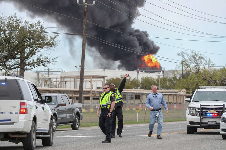 Smoke from a plant fire off of Hwy 134 / Texas Independence Parkway can be seen for miles Sunday, March 17, 2019, in La Porte, Tx.
