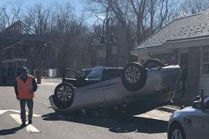 State police were dispatched a one-car rollover as a vehicle was traveling into the Southbound Greenwich rest area on Route 15 March 17, 2019.