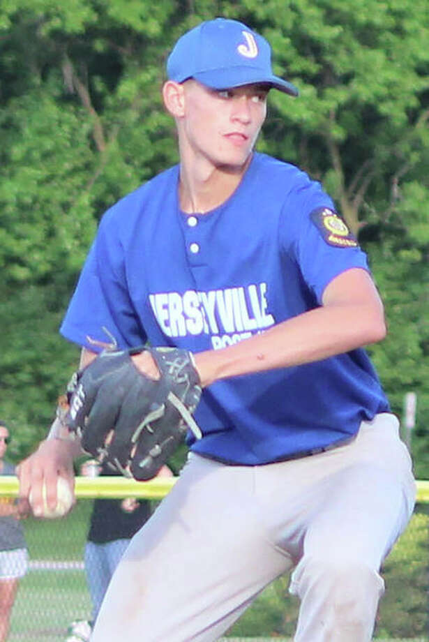 Jersey's Tucker Shalley, shown pitching for Jerseyville Legion last summer, will be the Panthers ace in 2019. Photo: Greg Shashack / The Telegraph