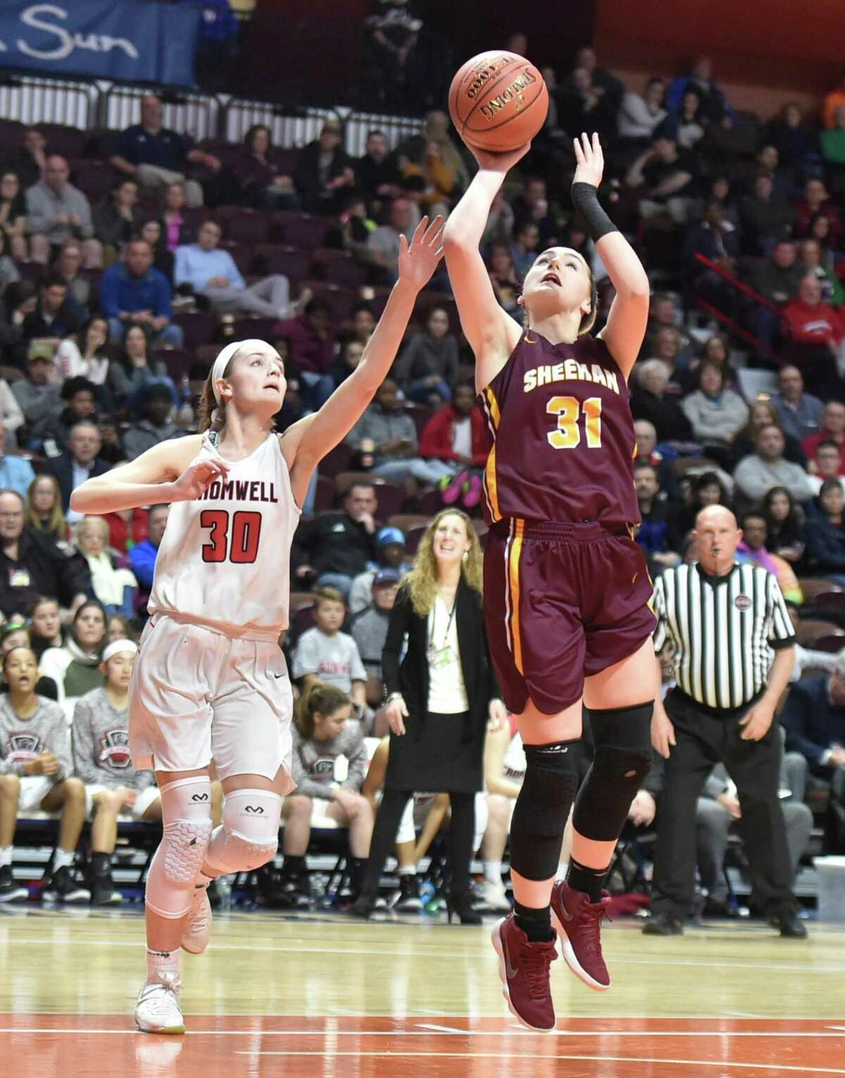 Uncasville, Connecticut- Sunday, March 17, 2019: Cromwell H.S. vs. Sheehan H.S. of Wallingford during the second quarter of the CIAC 2019 State Girls Basketball Tournament Class M championship final Sunday afternoon at Mohegan Sun in Uncasville.
