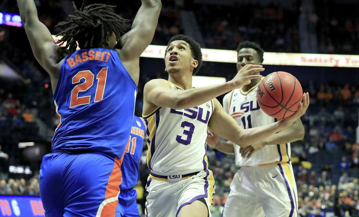 NASHVILLE, TENNESSEE - MARCH 15: Tremont Waters #3 of the LSU Tigers shoots the ball against the Florida Gators during the Quarterfinals of the SEC Basketball Tournament at Bridgestone Arena on March 15, 2019 in Nashville, Tennessee. (Photo by Andy Lyons/Getty Images)