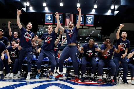 St. Mary's men's basketball team reacts to their NCAA Tournament seeding during a watch party at McKeon Pavilion in Moraga, Calif., on Sunday, March 17, 2019. The Gaels are the 11th seed in the South Region and will play 6th seeded Villanova in Hartford, Connecticut on Thursday.