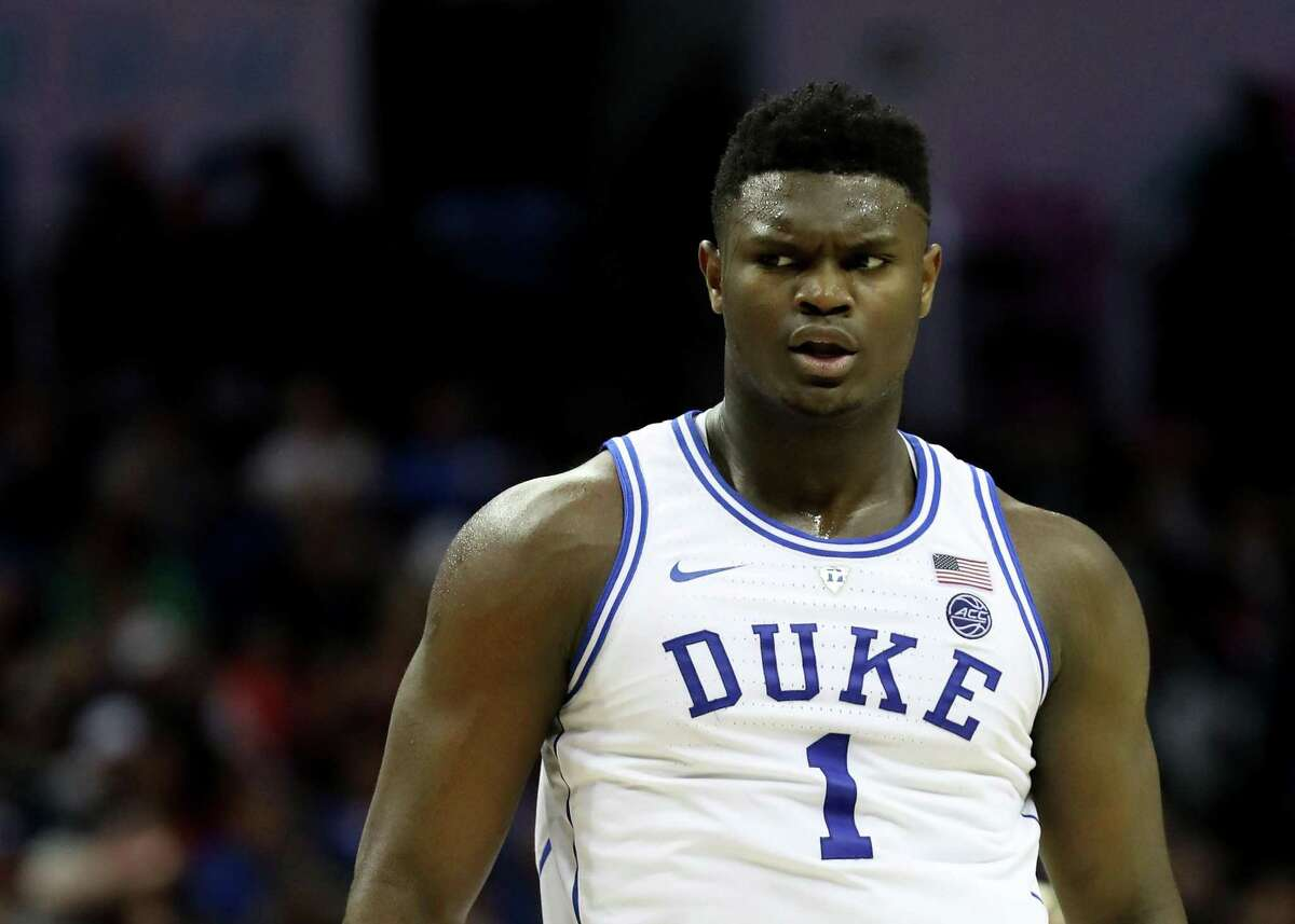 Zion Williamson (1) of the Duke Blue Devils reacts against the Florida State Seminoles during the championship game of the 2019 Men's ACC Basketball Tournament at Spectrum Center on March 16, 2019 in Charlotte, North Carolina.