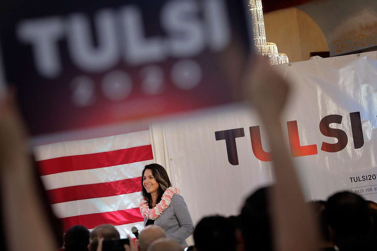 U.S. Rep. Tulsi Gabbard on stage during a town hall meeting held by the 2020 candidate for president, in Fremont, Calif., on Sunday, March 17, 2019. Gabbard who represents the 2nd congressional district in Hawaii, is a former veteran and served several tours in Iraq.